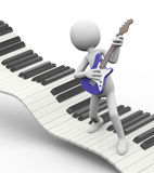 3d electric guitarist on keyboard Royalty Free Stock Photos