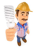 3D Electrician with a energy saving light bulb. 3d working people illustration. Electrician with a energy saving light bulb. White background Royalty Free Stock Photos