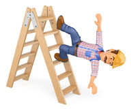 3D Electrician falling off a ladder. Work accident. 3d working people illustration. Electrician falling off a ladder. Work accident. White background Royalty Free Stock Photos