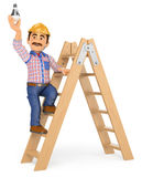3D Electrician on a ladder changing a light bulb. 3d working people illustration. Electrician on a ladder changing a light bulb. White background royalty free illustration