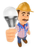3D Electrician with a led light bulb. 3d working people illustration. Electrician with a led light bulb. White background Stock Images