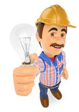 3D Electrician with a light bulb Royalty Free Stock Image