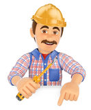 3D Electrician with a screwdriver pointing down. Blank space Royalty Free Stock Photography