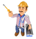 3D Electrician with a screwdriver and toolbox Stock Images