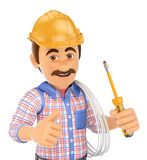 3D Electrician with a screwdriver and wire Royalty Free Stock Photography