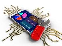 3d electronic circuit. 3d illustration of white phone over white background with electronic circuit and wrench Stock Photo