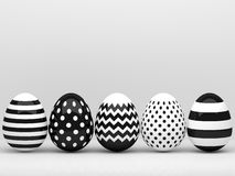 3d elegant, black and white Easter eggs Royalty Free Stock Photography