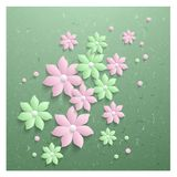 3d elegant paper  flowers. Abstract spring background with 3d elegant paper  flowers Stock Images