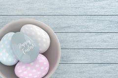 3d elegant pastel Easter eggs Stock Image