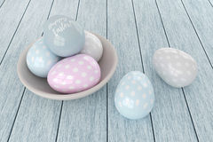 3d elegant pastel Easter eggs Stock Photos