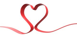 3D elegant ribbon red Heart Shape form on a white background Stock Photos