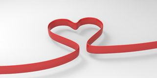 3D elegant ribbon red Heart Shape form on a white gray background Stock Photo