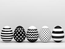 3d elegante, huevos de Pascua blancos y negros