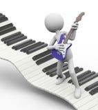 3d elektryczny gitarzysta na klawiaturze ilustracja wektor