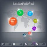 3D Element Infographics auf schwarzem Hintergrund Stockfotografie