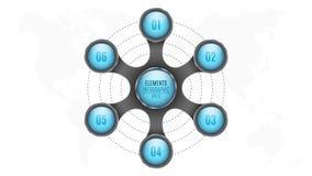 3d Elementen van infographics Blauwe cirkels met aantallen voor uw bedrijfsproject Kaart van de aarde Abstract metaalvoorwerp i Stock Fotografie