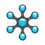 3d Elementen van infographics Blauwe glanzende lege cirkels voor uw bedrijfsproject Abstract die metaalvoorwerp op witte backgrou Royalty-vrije Stock Foto