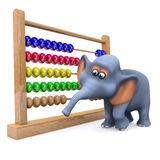 3d Elephant with abacus Royalty Free Stock Image