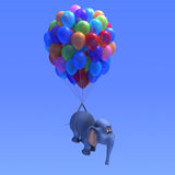 3d Elephant balloons. 3d render of an elephant flying with the aid of many coloured balloons Royalty Free Stock Photography