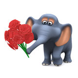 3d Elephant with a bunch of flowers Stock Photo