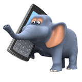 3d Elephant chats on a mobile phone Stock Photos