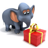 3d Elephant gets a gift Stock Photo