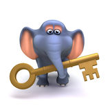 3d Elephant with gold key Stock Images