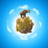 3D elephant on a grass and rock globe Royalty Free Stock Photos