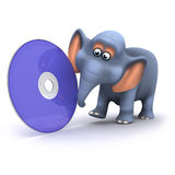 3d Elephant has a dvd Royalty Free Stock Photography