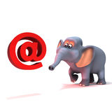 3d Elephant has an email address Royalty Free Stock Image