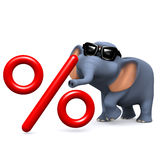 3d Elephant interest rate Royalty Free Stock Images