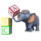 3d Elephant learns the alphabet Royalty Free Stock Images
