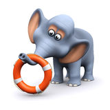 3d Elephant with life ring Royalty Free Stock Photography