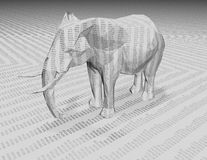 3d elephant with numbers texture. Stock Images