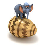 3d Elephant sits on a golden Easter egg Stock Photography