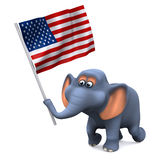 3d Elephant with the stars and stripes Royalty Free Stock Image