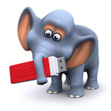 3d Elephant with a USB memory stick. 3d render of an elephant holding a USB memory stick Stock Photography