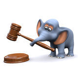 3d Elephant using an auctioneers gavel Royalty Free Stock Images