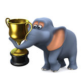 3d Elephant wins the gold trophy Stock Image