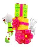 3d Elf met giftbox en rendier Stock Fotografie
