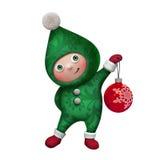 3d elfa zabawki Bożenarodzeniowy charakter odizolowywający na bielu Zdjęcie Royalty Free