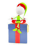 3d Elves with gift box Stock Photos