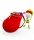 3d Elves with gift sack Stock Images