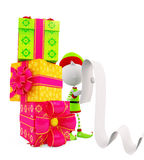 3d Elves with giftbox Royalty Free Stock Photo