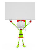 3d Elves with sign board Stock Photography