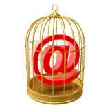3d Email address symbol in a birdcage Royalty Free Stock Image