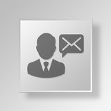 3D Email Button Icon Concept. 3D Symbol Gray Square Email Button Icon Concept Stock Images