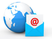 3d email envelope with globe Stock Photo