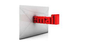 3d email and envelope. Word email leaving an envelope in 3d Stock Photo