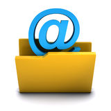 3d Email folder icon. 3d render of a folder containing an email address symbol Stock Photography